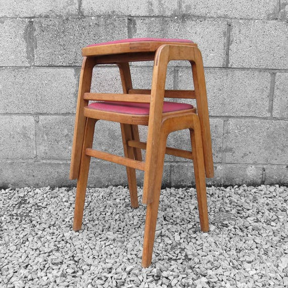 Mid Century Stools 1950s Retro Red Stacking Seats Kitsch Dining