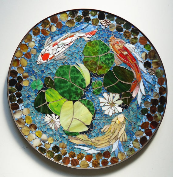 Mosaic table koi fish art stained glass mosaic art for Koi fish pool table