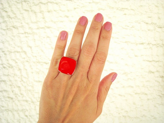 Ruby red ring, red statement ring, silver tone red resin ring, modern minimalist jewelry, red cocktail square ring, color block jewelry