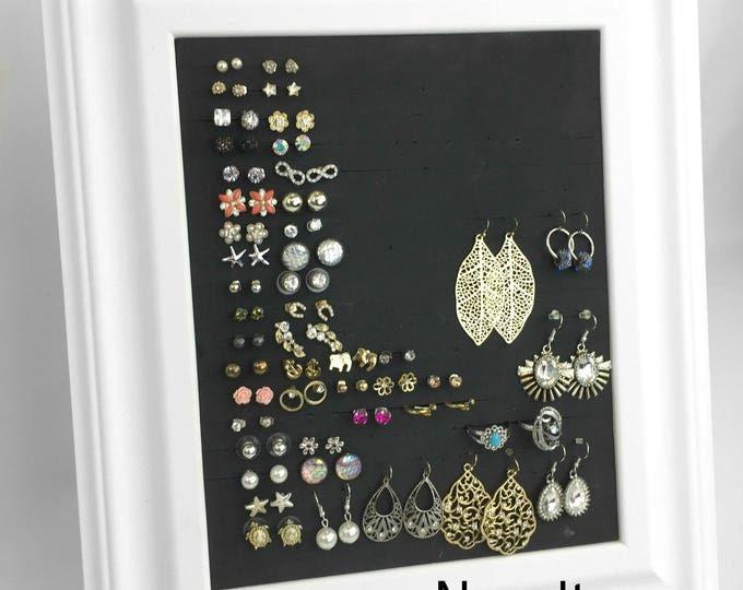 Framed Earring Holder - 8x10 White Jewelry Organizer - Jewelry Display