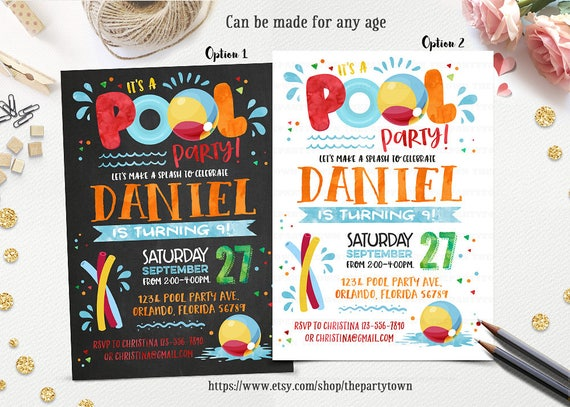 Pool Party Birthday Invitation Chalkboard Splish Splash Invite Summer Swimming Beach Ball First Personalized Printable
