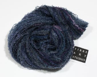 Bebe>> Kid Mohair Boucle Loop Yarn | Medium to Dark Navy Gray Purple Variegated Yarn | Knitting, Crochet, Weaving Yarn | Blue Mink
