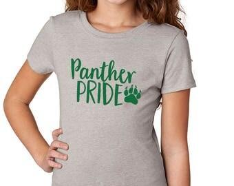 Girls'  Panther Pride Shirt - School Spirit - Panthers - Heather Gray Girls T-Shirt