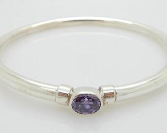 Solid Vintage Sterling Silver/925 Oval Amethyst Bangle Bracelet; sku # 4482