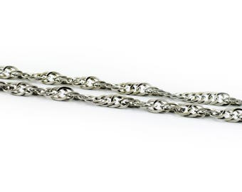 Rhodium plated Steel Rope Chain, 7mm Chain, Braided Twisted Steel chain, Fashion Rope Chain, 1 meter
