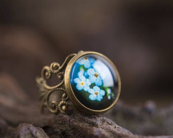 Forget me not ring, filigree ring, adjustable ring, statement ring, antique brass ring, flower ring, nature ring, forget me not jewelry