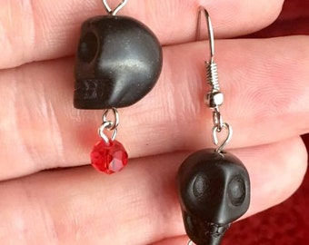 Black Skull Earrings w/ Red Accent Bead