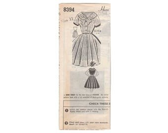 Women's Rockabilly Dress with Full Skirt Sewing Pattern Misses Size 11 Uncut Vintage 1950's Mail Order Patt-O-Rama 8394