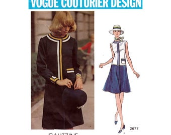 Vogue Couturier Design, Irene Galitzine, Dropped Waist A-Line Dress Sewing Pattern, Misses Size 10 Bust 32 1/2 Vintage Vogue 2677