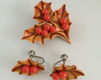 Harvest Holiday Jewelry, Autumn Leaf Brooch And Earrings