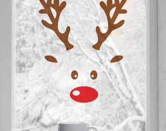Reindeer Window Sticker-Decal-Wall Sticker-Christmas-Animal-Cute window sticker-Xmas sticker-Window stickers-Red Nose