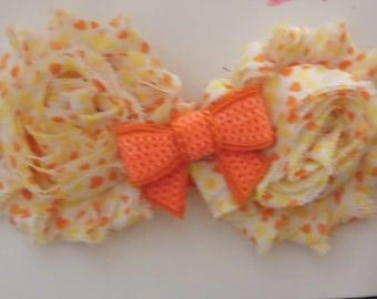 Orange and Yellow Heart Print Shabby Flower Headband