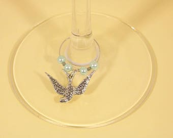 Birds set of 4 Wine Glass Charms - friend gift
