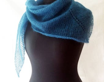 Mohair scarf small, teal scarf blue, bandana style knits, scarf triangle, small shawl, gift for woman, knitted scarflette, mohair shawlette