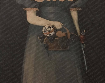 Bioshock Parody with Little Sister and Syringe - Altered Thrift Art - Print Poster Canvas - Funny Bioshock Gift, Fan Artwork, Video Gamer