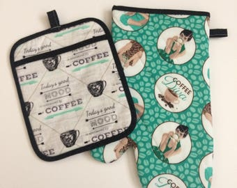 Coffee Diva Oven Mitt and Potholder Set - Free shipping in USA