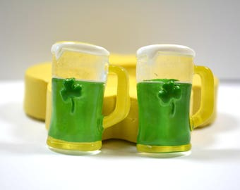 1635 2xIrish Beer Mug Cabochon St. Patrick's Day Silicone Rubber Food Safe Mold Mould-fondant, cake topper, resin, candy, chocolate, clay