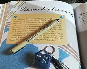 Handmade Keychain polymer clay miniature blue satchel