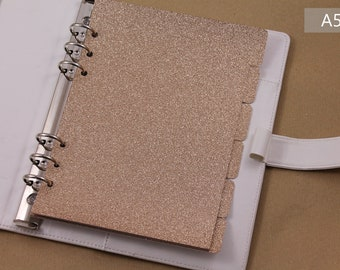 A5 planner accessories, dividers set for planner, 6 dividers glitter, Filofax dividers beige