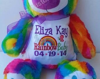 Rainbow Bear Personalized Stuffed Animal
