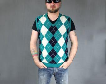 80s Vintage Pure Wool Geometric Print Green Vest, Warm Winter Color Block Retro Men's Polo Preppy Waistcoat, Hipster Sports Knit Vest, Sz L