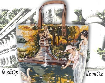 Tapestry Purse, Seventies Canvas Handbag Swan : Le Tatiana