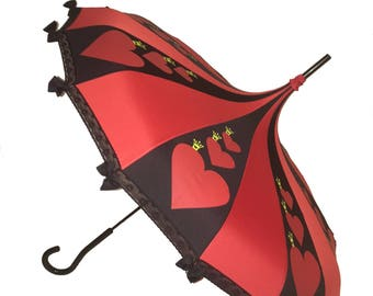 Card Queen Fairy tale Themed Umbrella / Parasol Red & Black Pagoda shaped with lace and bows