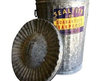 Vintage Trash Can / SealTite / Steel Trashcan / Trash Can / Vintage Storage / Industrial / Farmhouse / New Old Stock / Storage