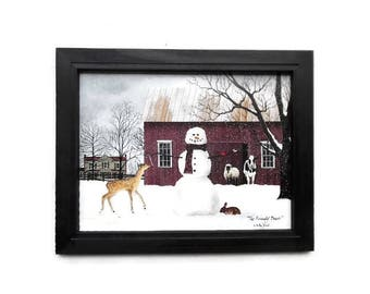 Holiday Decor, Billy Jacobs, The Friendly Beasts, Christmas Art, Wall Hanging, Country Decor, Handmade 15X19 Custom Wood Frame, Made in USA