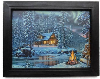 Cabin Picture, Aurora Fire, Kim Norlien Art Print, Country Home Decor, Wall Hanging, Handmade, 19 x 15 Custom Wood Frame, Made in the USA