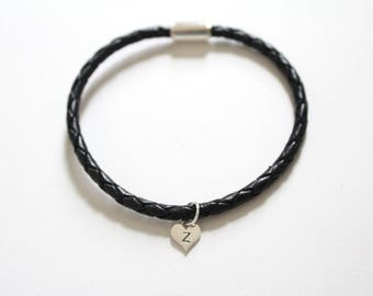 Leather Bracelet with Sterling Silver Z Letter Heart Charm, Silver Tiny Stamped Z Initial Heart Charm Bracelet, Letter Z Charm Bracelet, Z