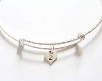Sterling Silver Bracelet with Sterling Silver Z Letter Heart Charm, Silver Tiny Stamped Z Initial Heart Charm Bracelet, Z Charm Bracelet, Z