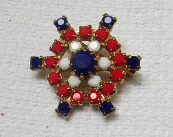 Vintage patriotic red white blue American ship's wheel rhinestone pin brooch estate find