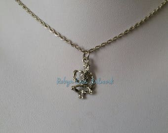 Very Small Silver Dancing Skeleton Charm Necklace on Silver Crossed Chain or Black Faux Suede Cord