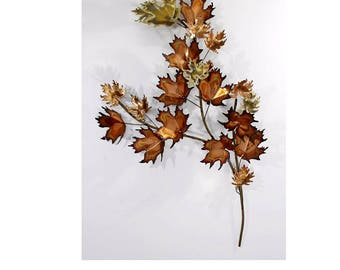 Mid Century Modern Curtis Jere Signed Maple Leaf Hanging Wall Sculpture 1970s