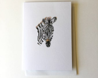 Zebra Greeting Card - Illustrated Note Card - Zebra Ink Illustration - Black and white Print