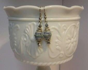 Muliti Blue Paper Bead earrings