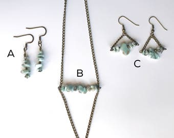 Larimar Gemstone Bar Necklace and Triangle Dangle Earring Set