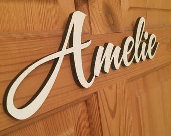 Door Sign Wood Name  -  Wooden Name Sign - Room Name Cutout - 300mm wide Personalised Laser Cut Name