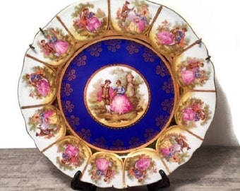 Vintage Fragonard Love Story Plate, JKW Decor Carlsbad Bavaria Collectible, Royal Vienna, Blue and Gold, Courting Couples, Beehive Marking