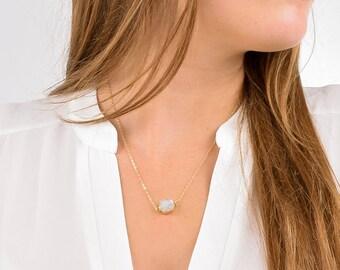 Druzy Necklace, Boho Druzy Necklace, Dainty Druzy Necklace, Gold Druzy Necklace, Simple Druzy Necklace, Genuine Quartz Druzy Necklace