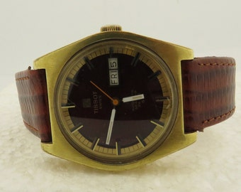 Vintage TISSOT Automatic Seastar PR 516, GL, Monogrammed Gold Tone, Calendar Watch w/ Leather Band.