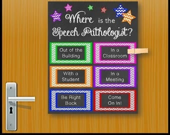 Where is the Speech Pathologist Door Sign, Speech Language Pathologist Gift Idea, SLP Gift, Speech and Language Pathology Office Decor