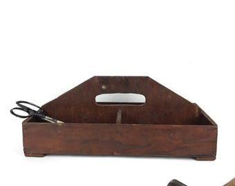 Primitive Wood Tool Box Vintage Wood Organizer Old Wooden Caddy Organzier Small Antique Caddy Divided Tool Caddy Holder