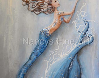 Bubble mermaid painting by California artist, Nancy Quiaoit. Giclee prints on fine art paper and canvas.  Lady In Blue.