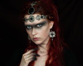 Vikings Cosplay Medieval Headdress Jewelry set, Tribal Belly Dance Headpiece, Fantasy Witch Tiara