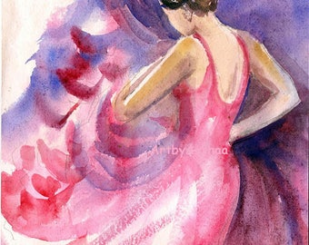 10% Off Original Handmade Dance Art, Flamenco dancer, Wall Decor, Watercolor Spanish dancer, Red, Dancer Home decor, gift for dancer
