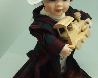 Linda Steele Doll Bobby With Toy Train and Conductor Hat