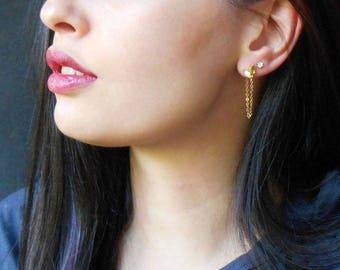 Gold chain earrings, Cubic zirconia earrings, drop earrings