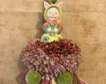 NEW- Bunny with Spring Flowers Tassel